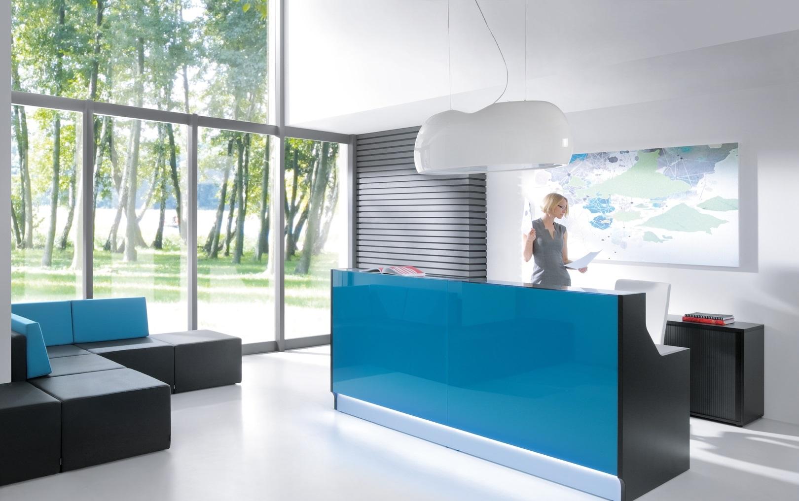 banque d'accueil droite bleue avec LED