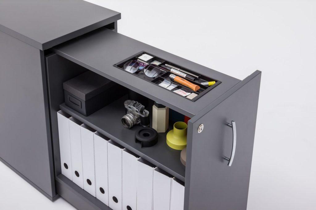 Caisson de bureau bench avec niches de rangements