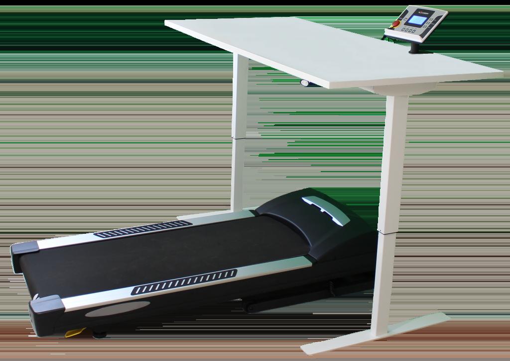 bureau réglable en hauteur électrique avec tapis de marche