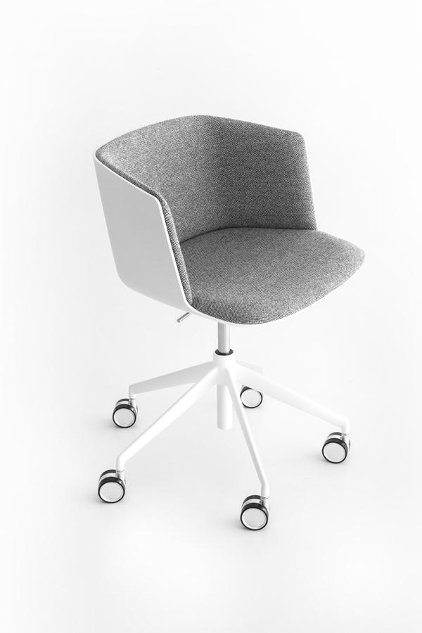 siège revêtement gris chiné et piétement réglable en hauteur laqué blanc