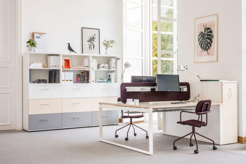 Bureau bench avec cloison acoustique