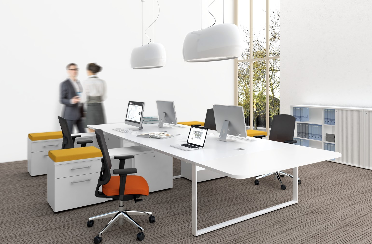 Bureau en bench pour espaces de travail coworking - Plateau coulissant pour tv ...