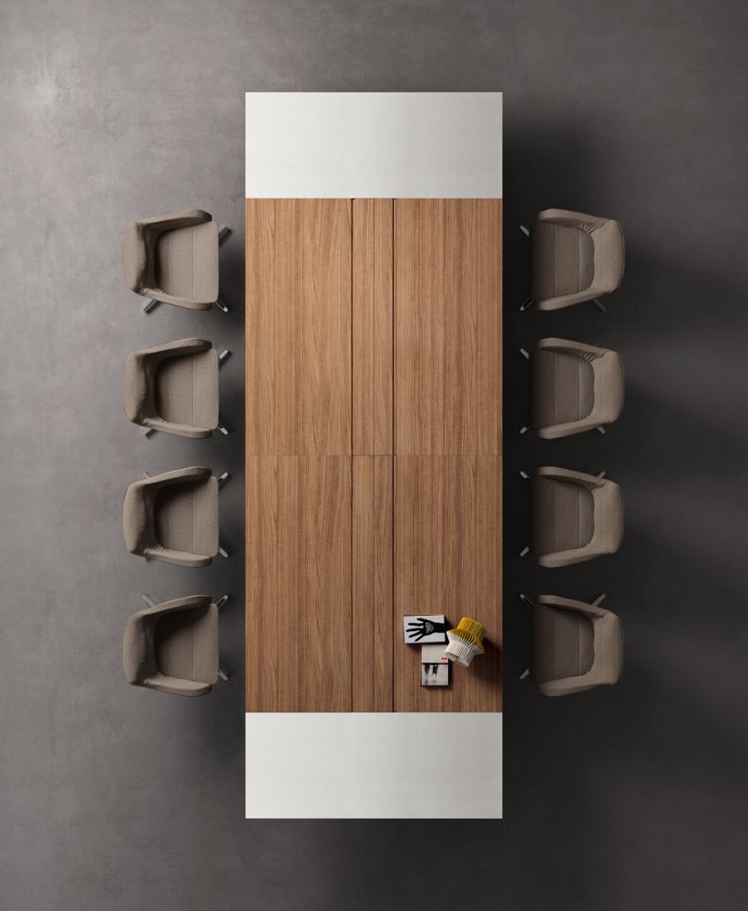 Table de réunion plateau laqué