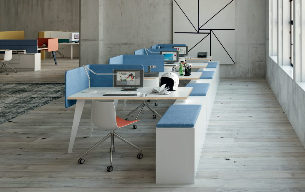 Bureau bench VENICE avec cloison acoustique