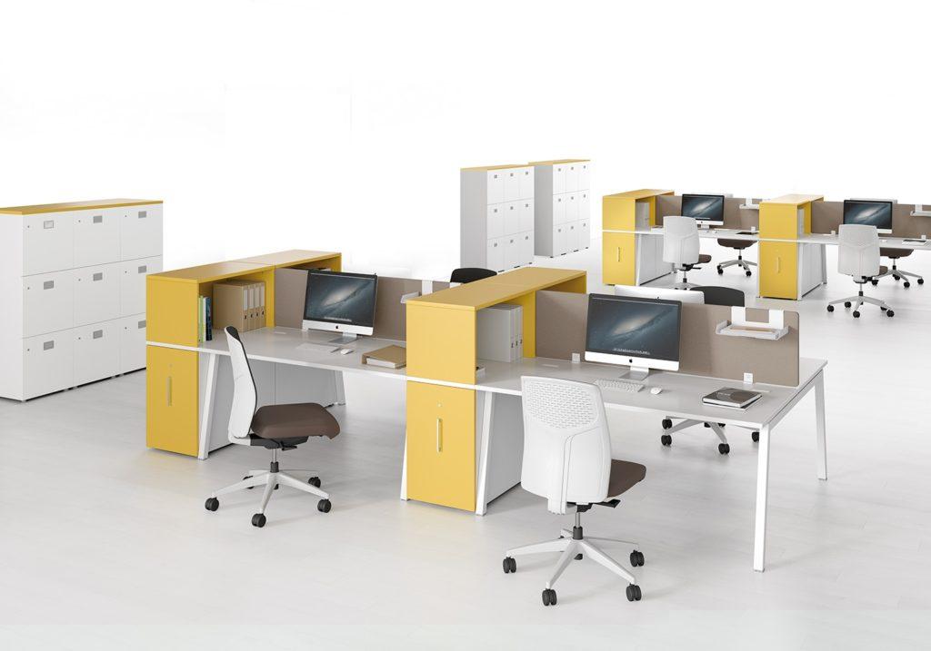 Bureau bench avec cloisons acoustiques