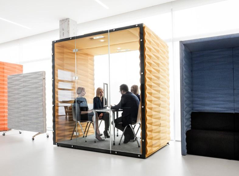 Box silence avec effet acoustique intérieur et exétrieur