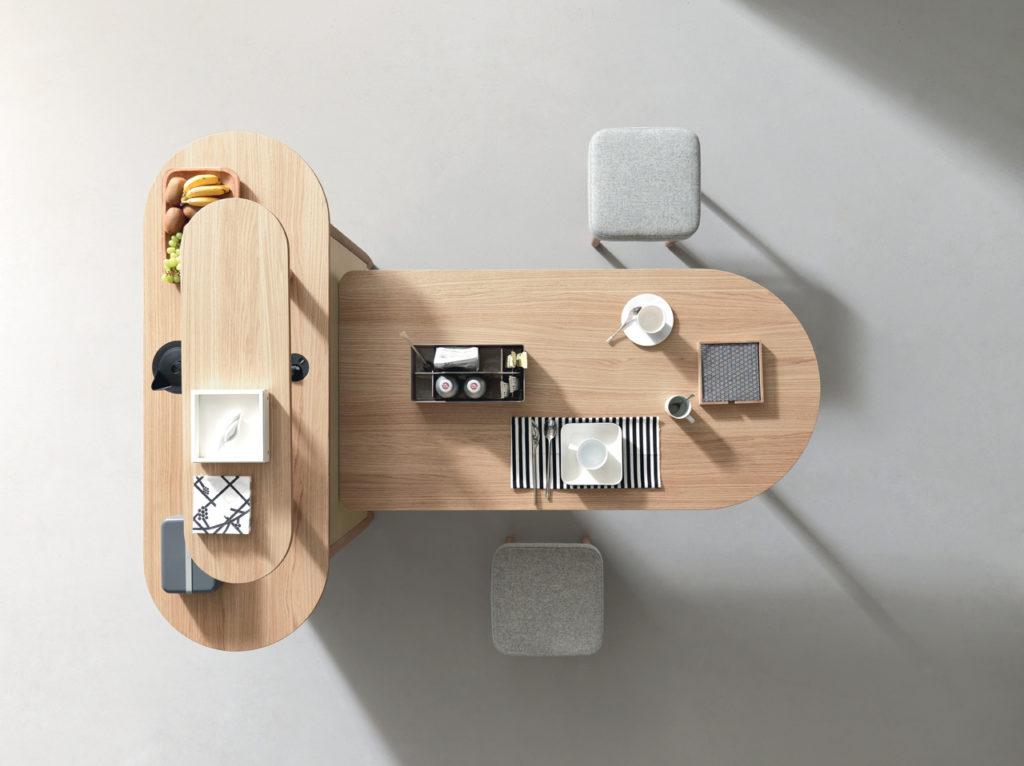 Table haute cafétéria avec rangement intégré