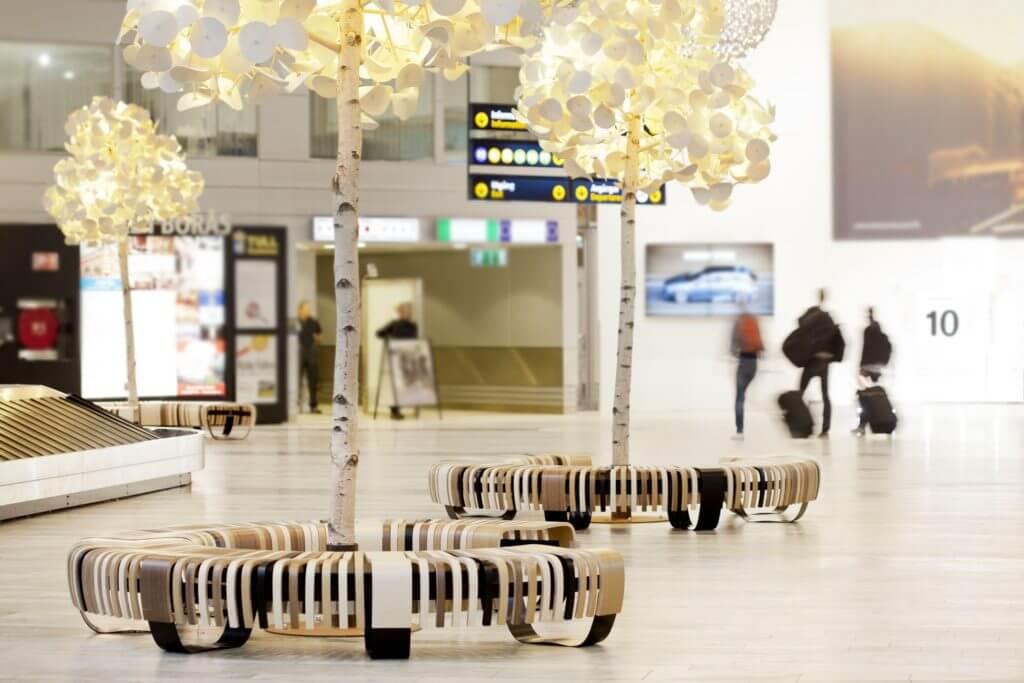 Lampe acoustique avec tronc en véritable bouleau