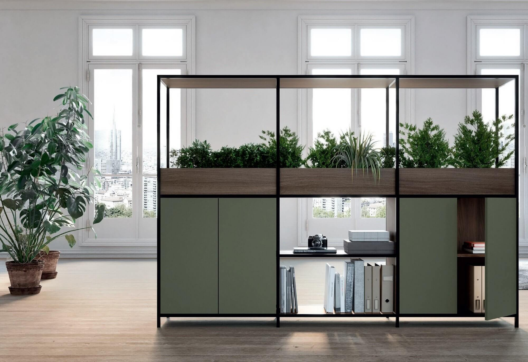 Armoire de bureau avec bac à plantes BIOME.