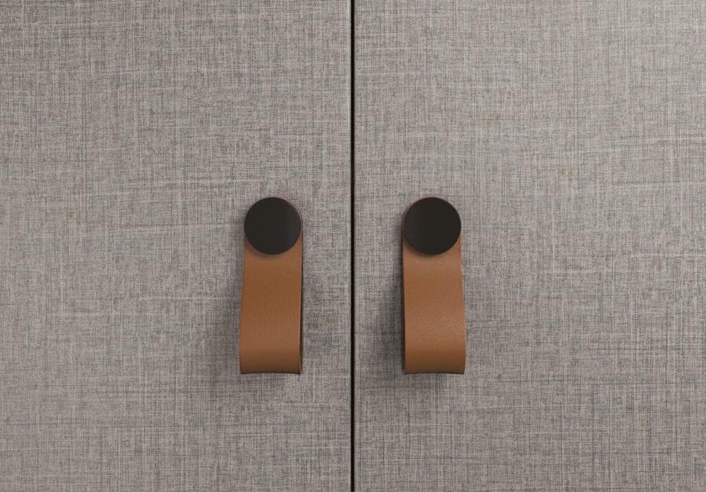 Armoire de bureau avec poignées en cuir design