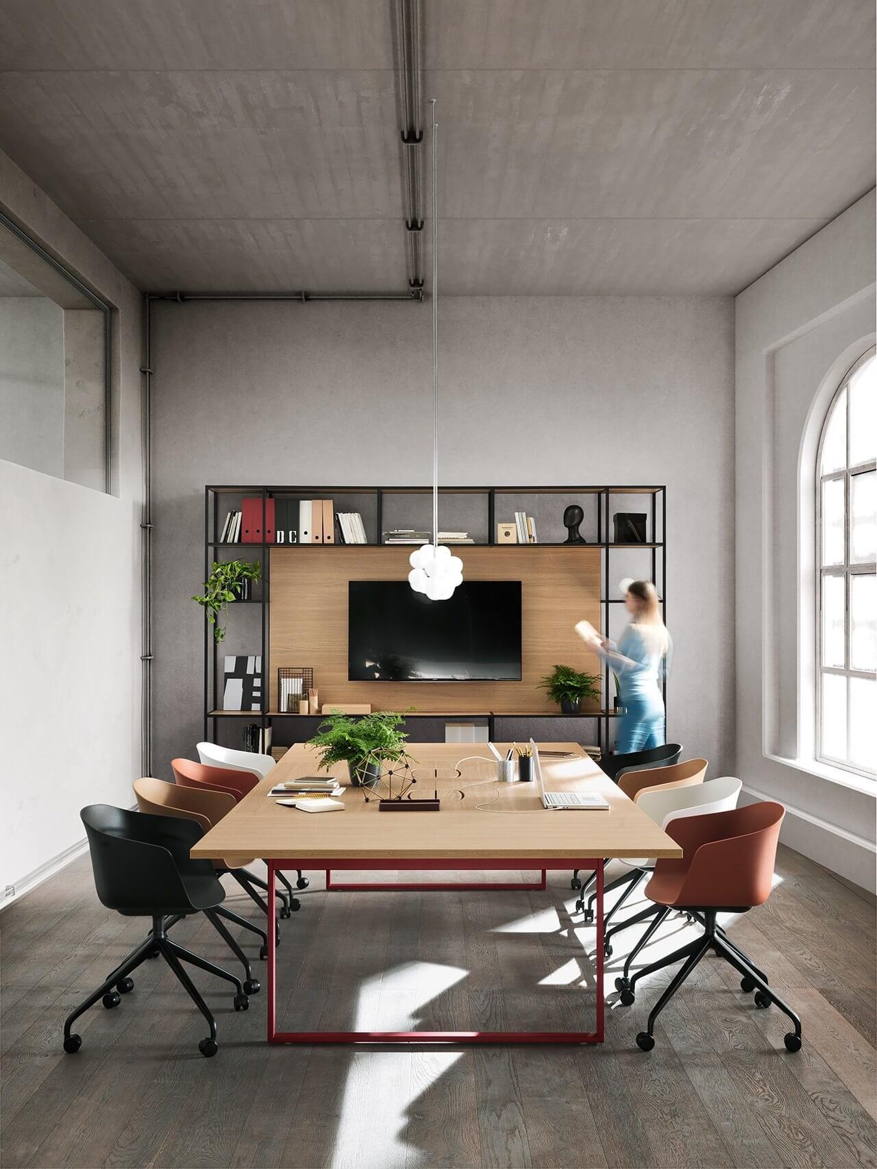 Armoire de bureau design BIOME avec écran TV intégré.