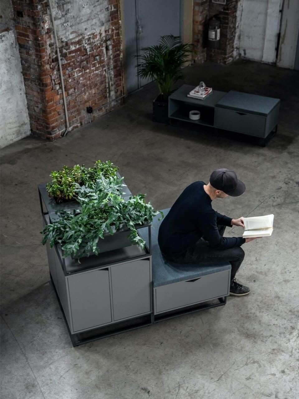 Armoire bureau design avec coussin d'assise COTTAGE