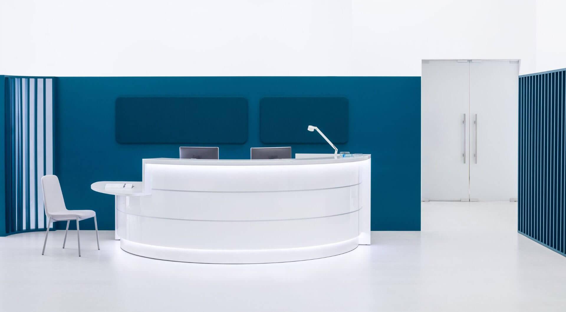 Banque d'accueil ronde design PMR.