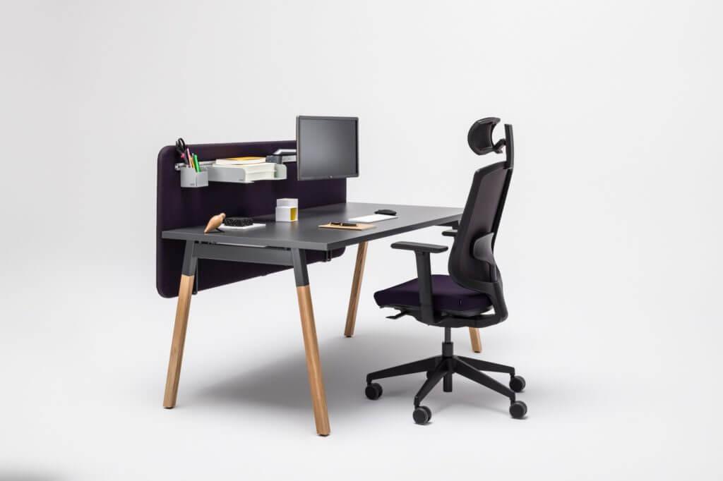 Bureau bench avec cloison acoustique design