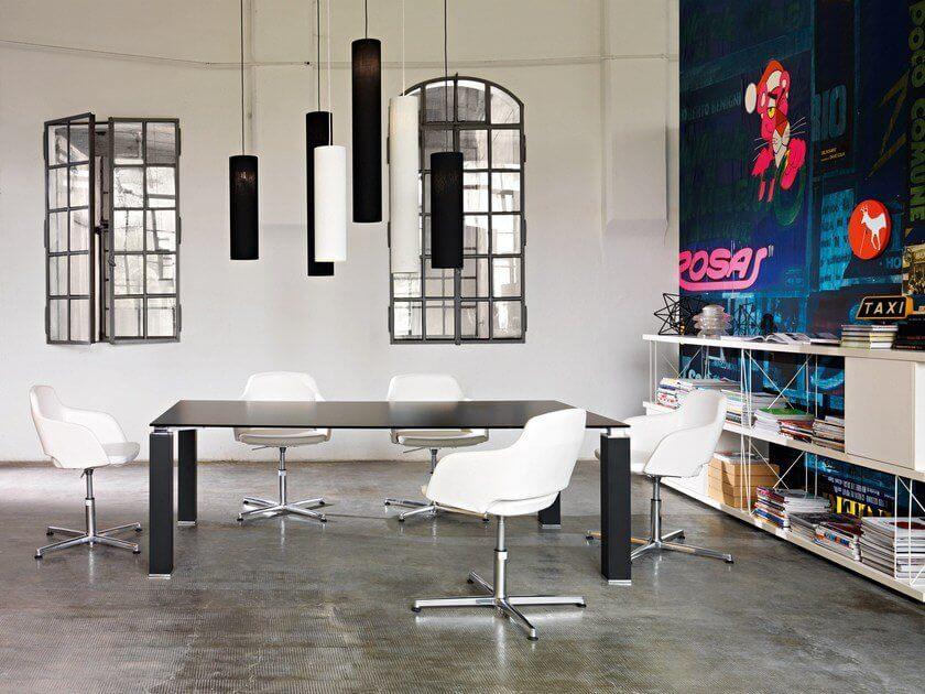 Table de réunion plateau verre TAO