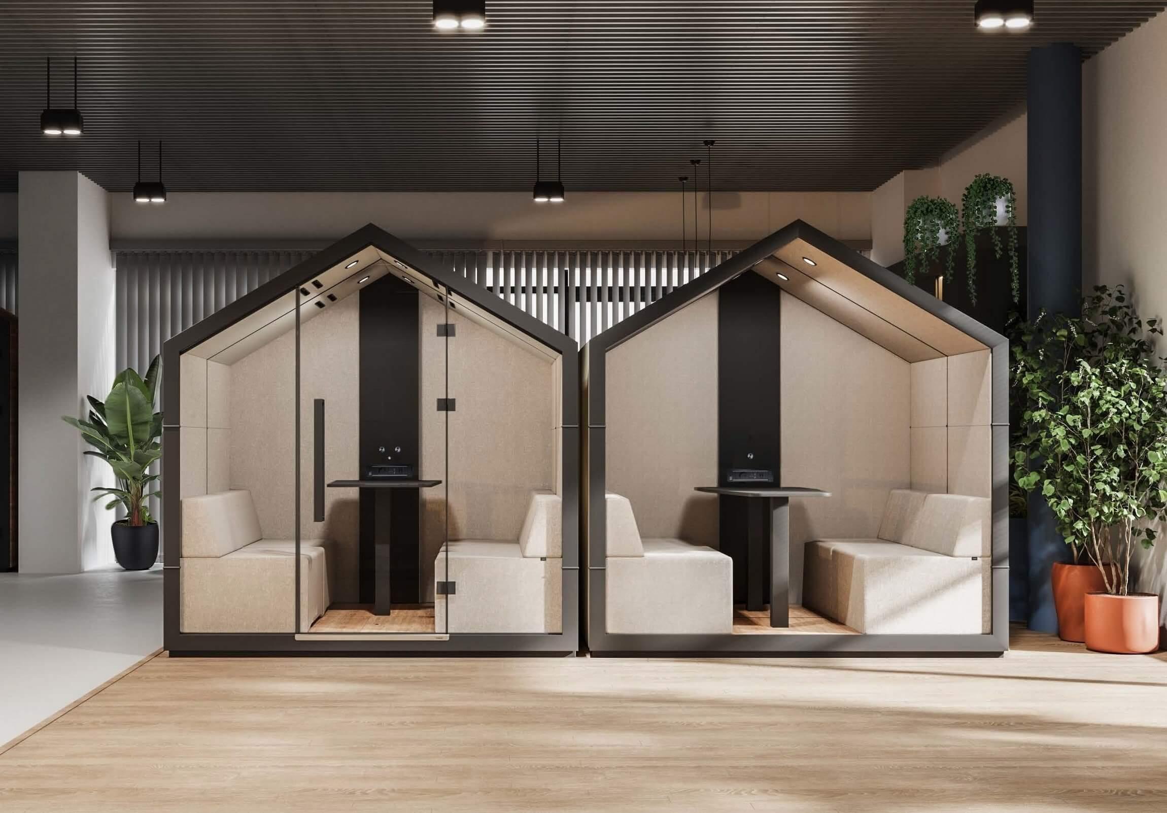Cabine acoustique de bureau design cabane.