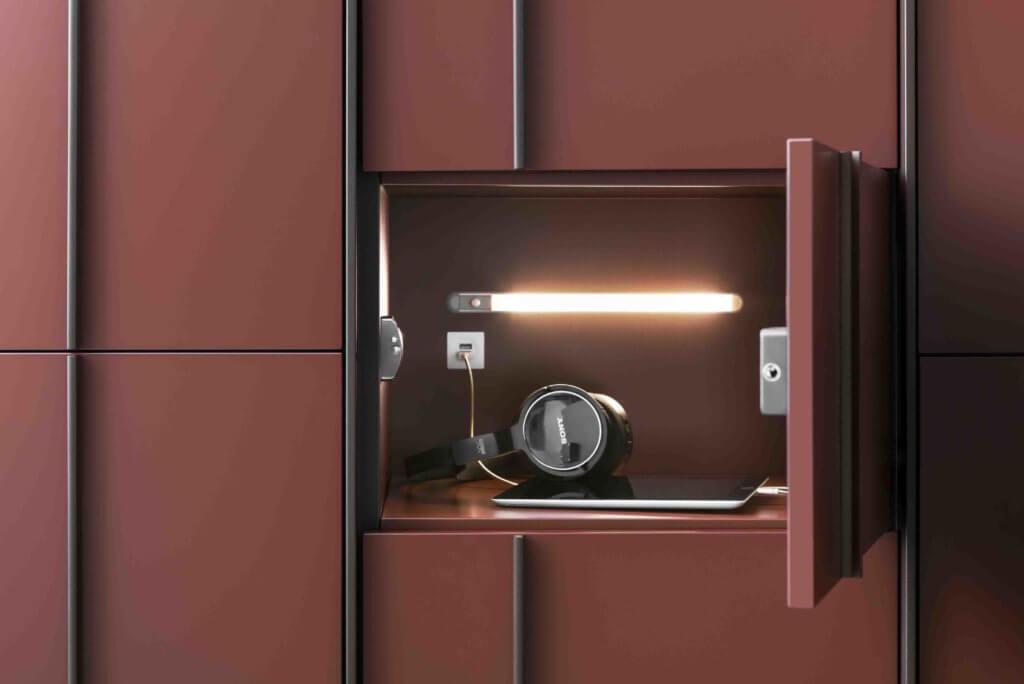 Casier de bureau avec éclairage et prise de chargement
