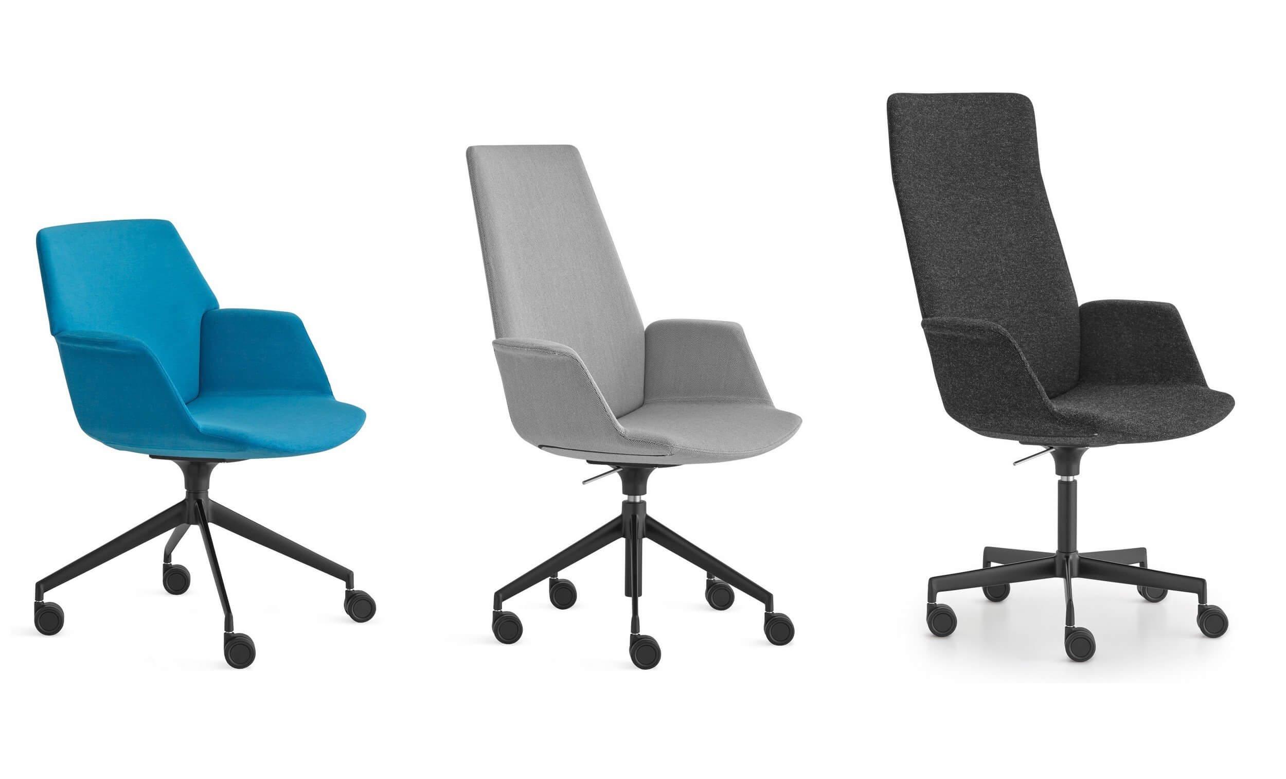 Chaise de bureau avec dossier haut ou bas.