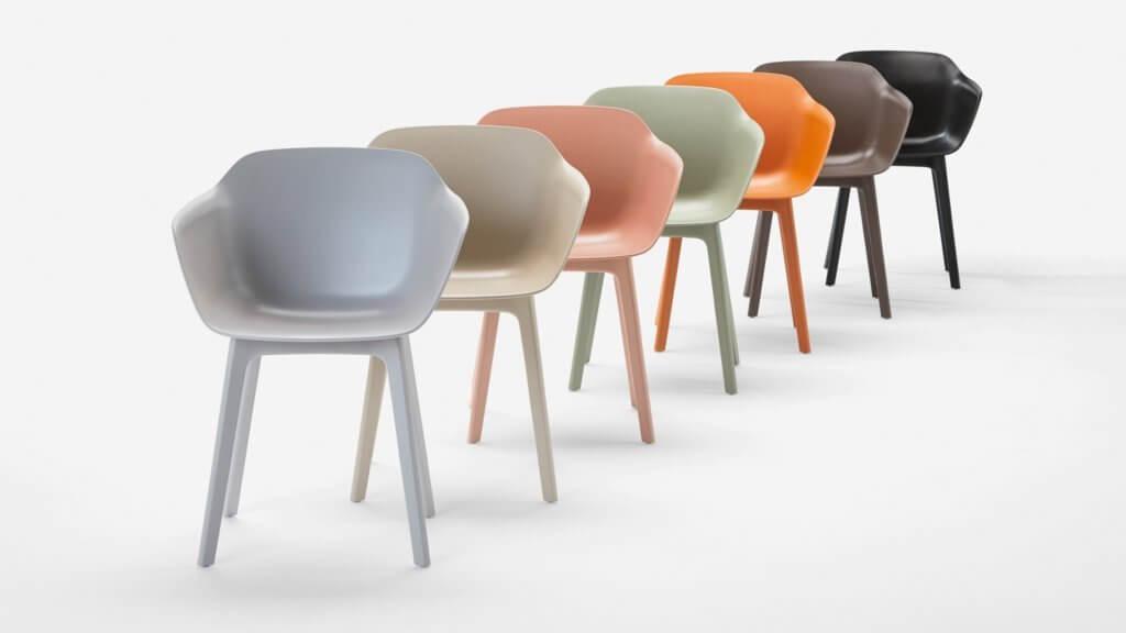 Chaise coque colorée pour restaurant d'entreprise