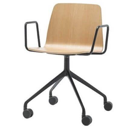 Chaise réunion design coque bois VARAN