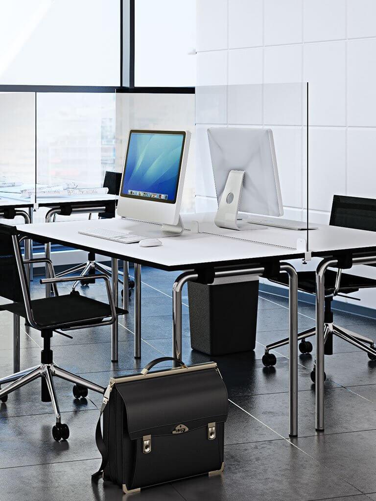 Panneau séparateur transparent pour bureau
