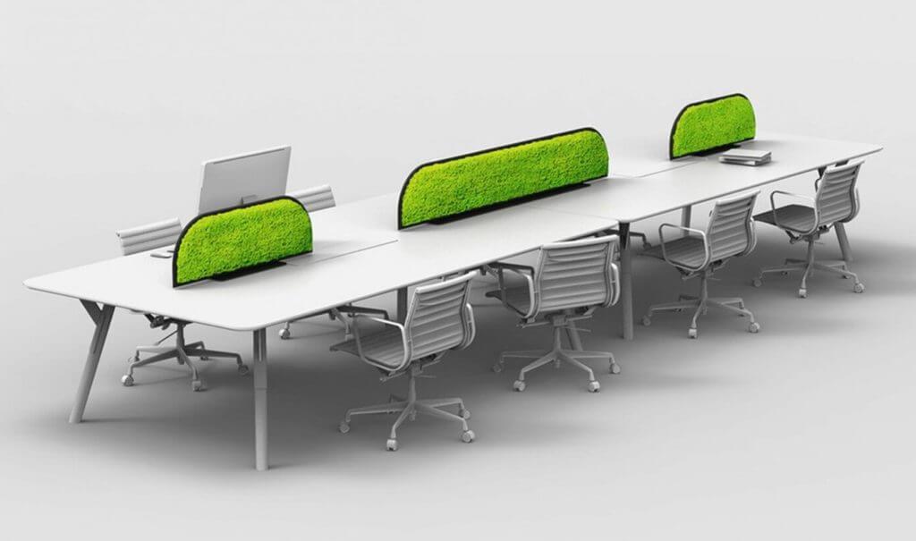 Bureau bench avec cloison végétale acoustique