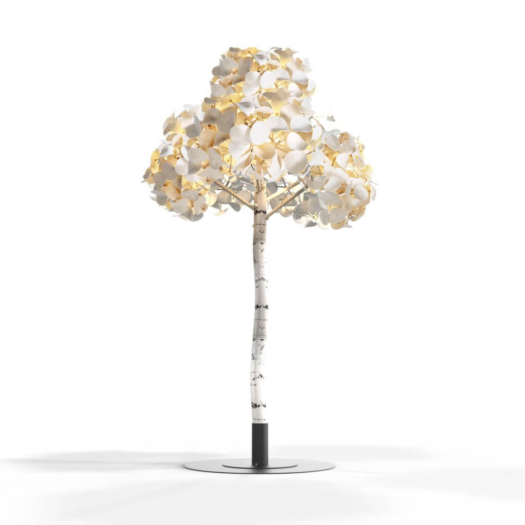 Grand arbre acoustique avec luminaires