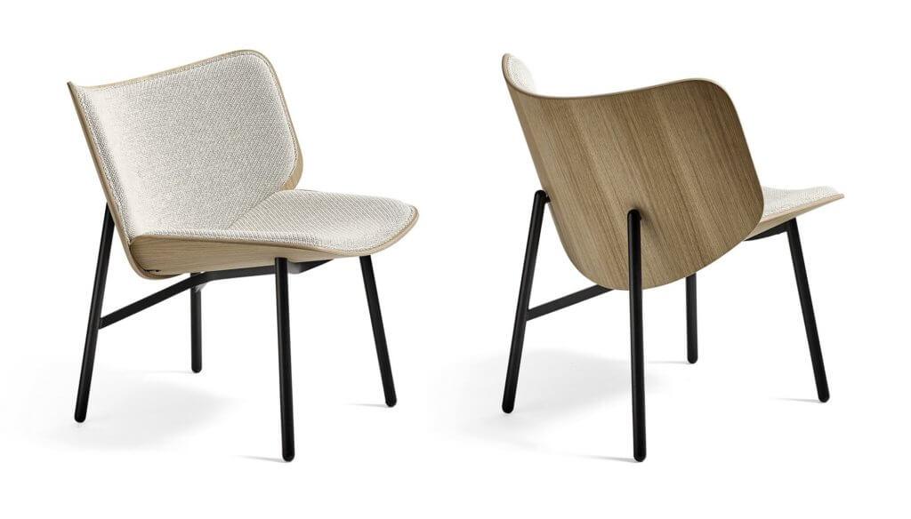 Fauteuil lounge design avec dossier bois