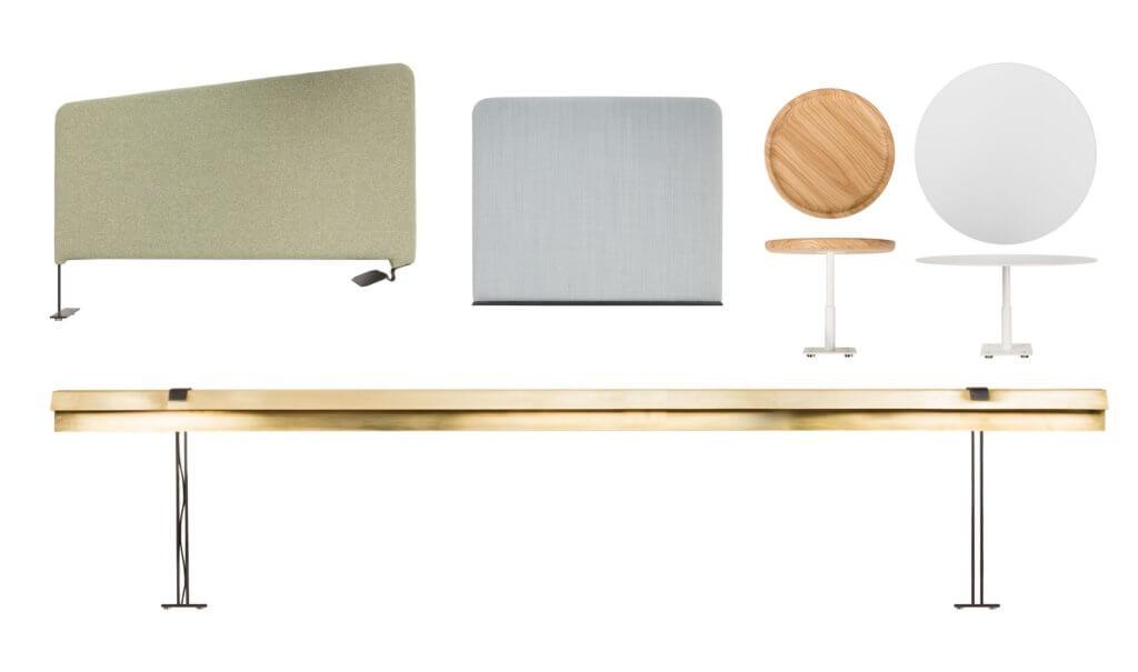 Table de travail avec lampes et cloisons acoustiques