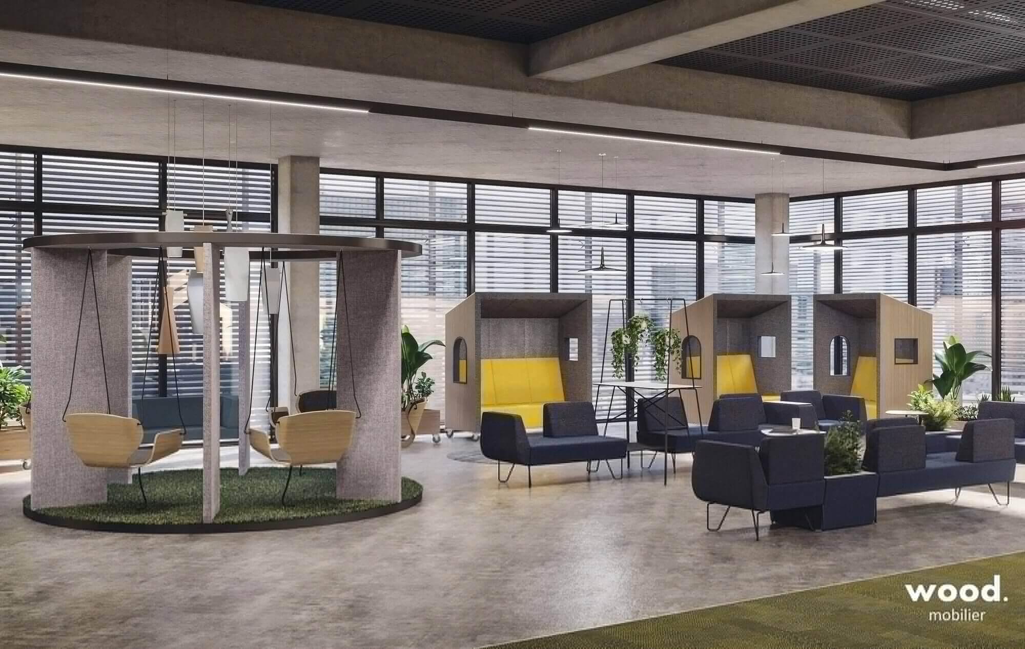 La place centrale des bureaux en open space
