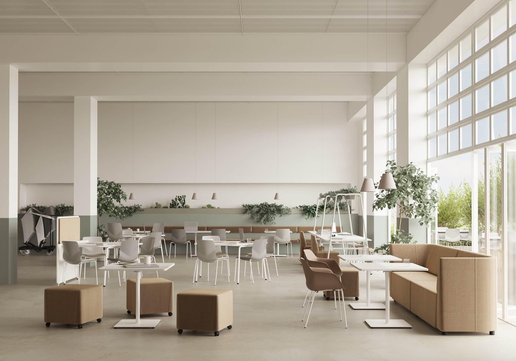 Mobilier design ARCHE pour espace collaboratif végétalisée.