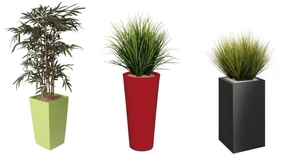 Plantes artificielles de bureau avec pot rond ou carré