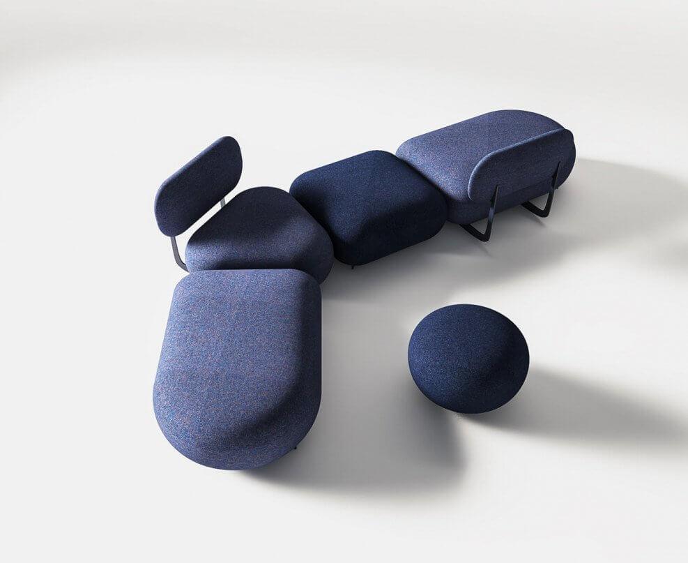 Mobilier lounge poufs avec dossier