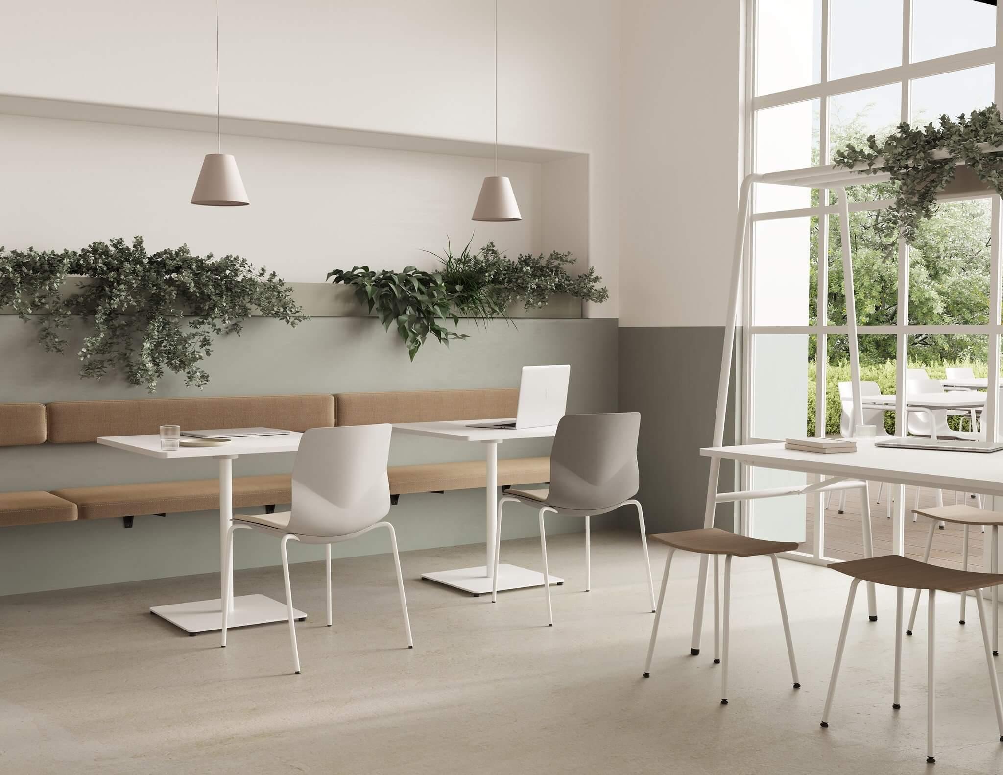 Table design avec jardinière pour les cafétérias et les restaurants.