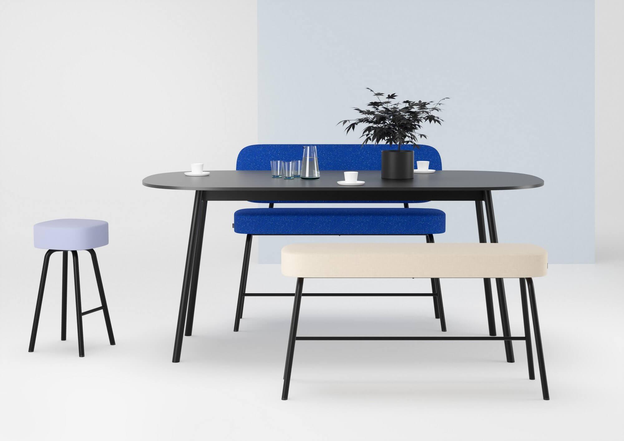 Table réunion ovale PULLY avec son banc de réunion design.