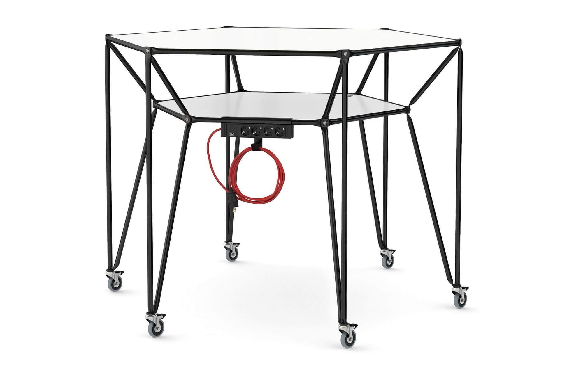 Table de réunion avec connectiques