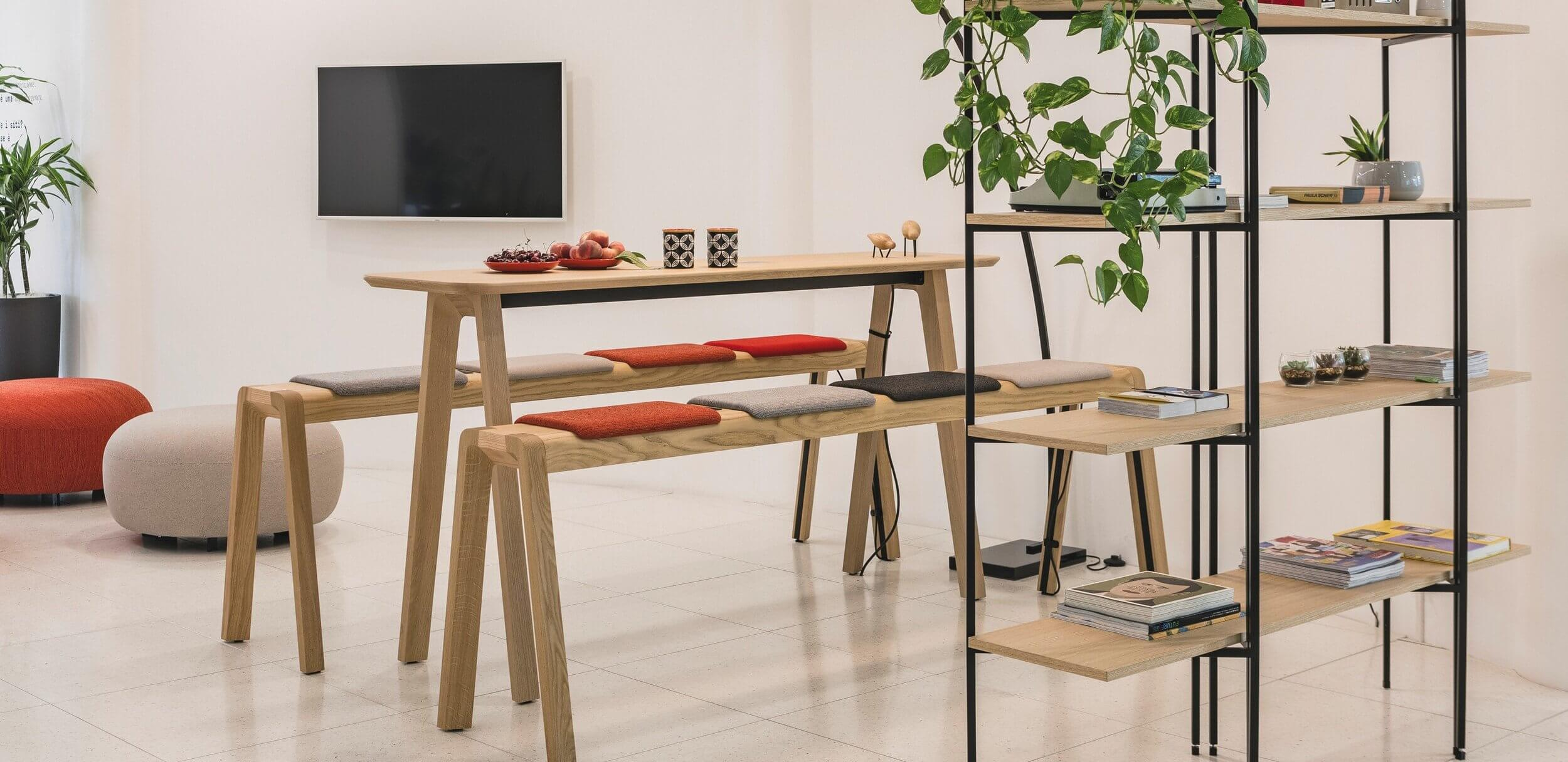 Table réunion haute bois design ECHO
