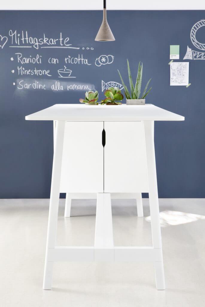 Table bench de réunion avec bac à plantes