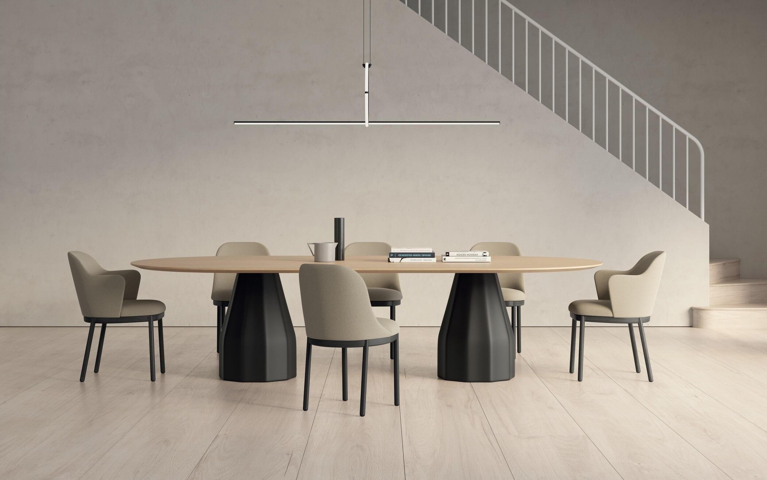 Table de réunion ovale design pour 6 personnes BURIN.