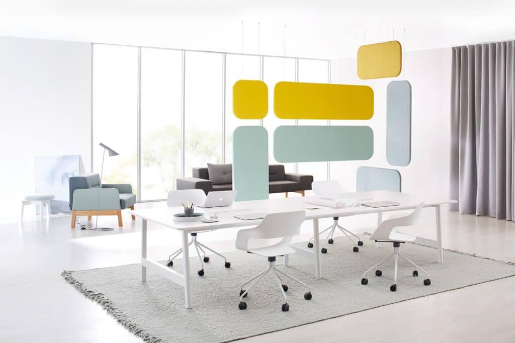 Bureau bench design blanc 4 personnes