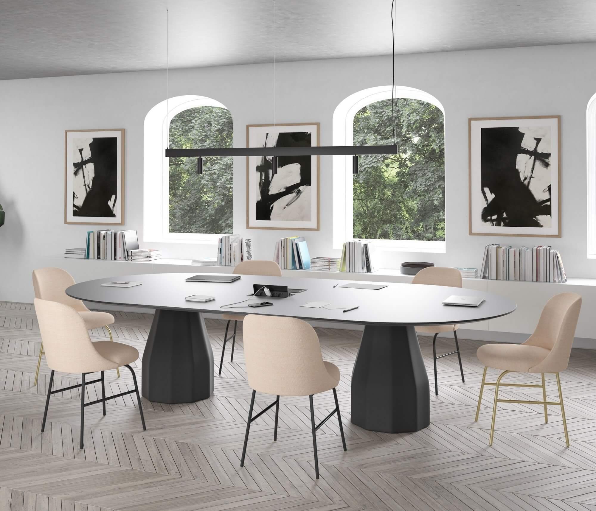Table de réunion design avec prises BURIN.