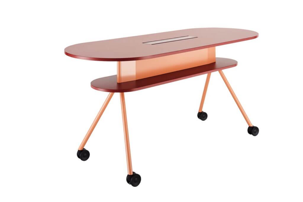 Table de réunion haute avec roulettes