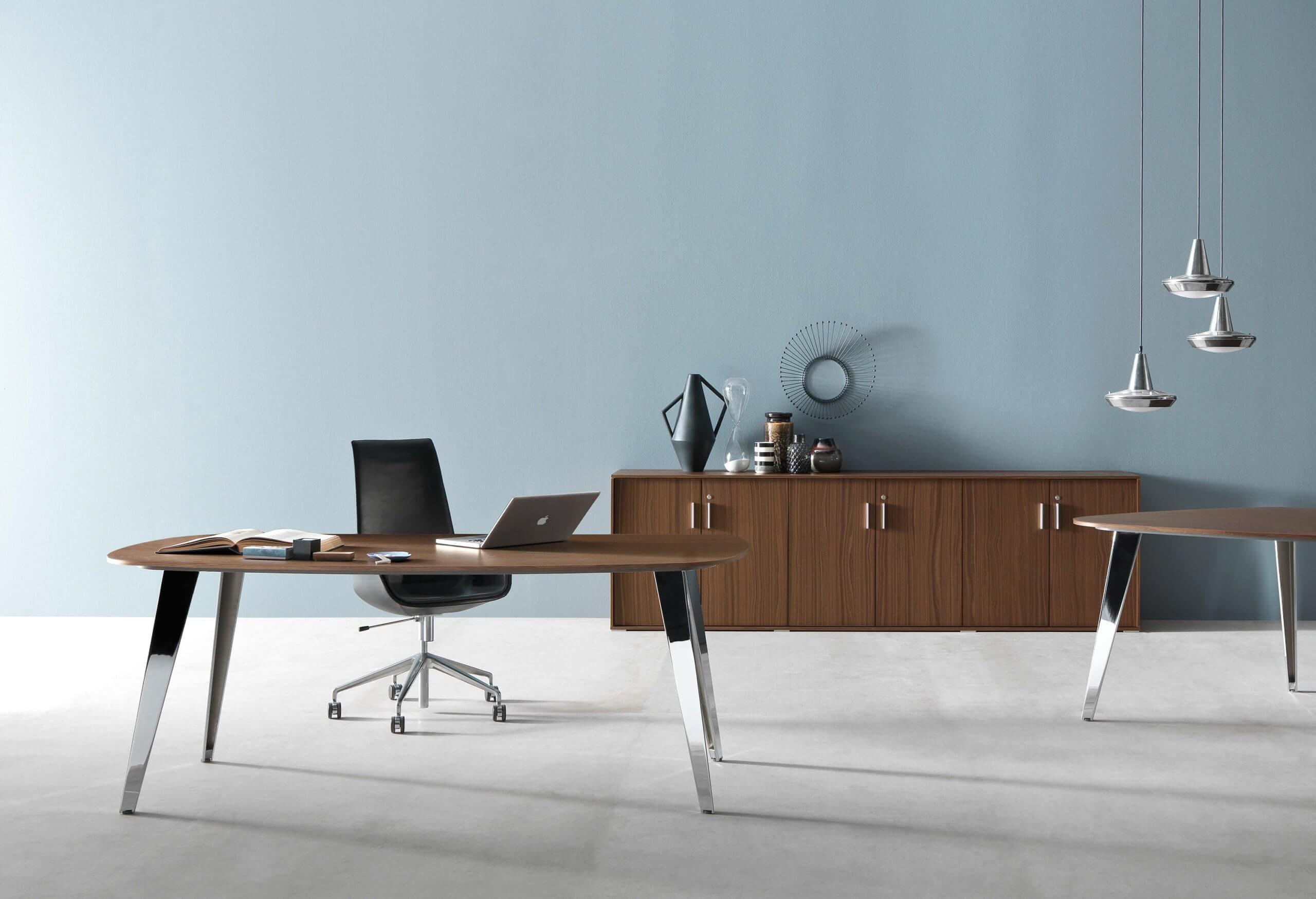 Table réunion plateau bois design