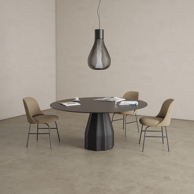 Table de réunion ronde design coloris noir BURIN.