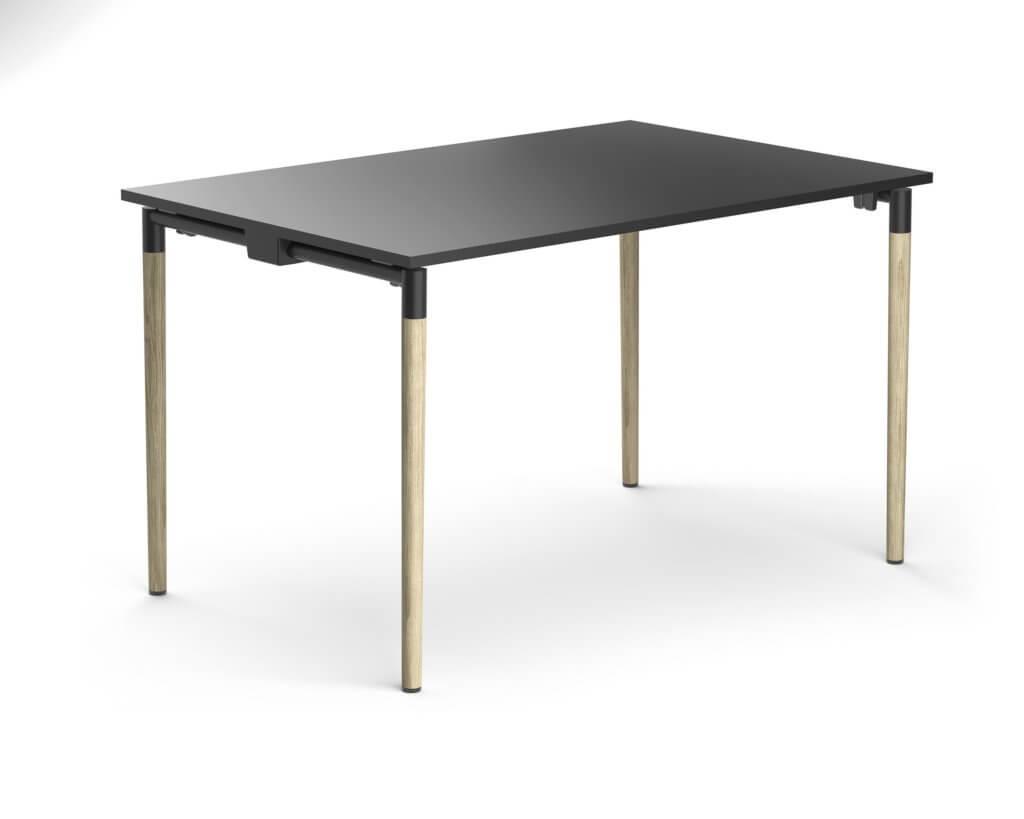 Table design pliable avec piétement bois