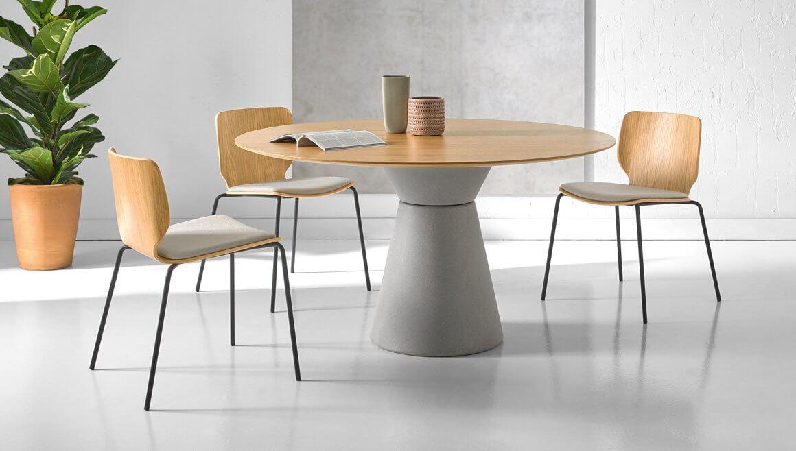 Table réunion ronde plateau bois SENS